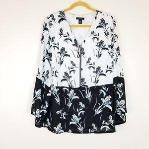 ALFANI Floral Black White Contrast Blouse